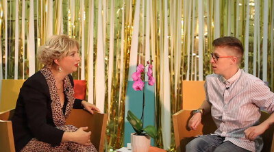 The O Show: Female Masculinity (video still of guest Lucy Hutson being interviewed by Oriana Fox, the host)